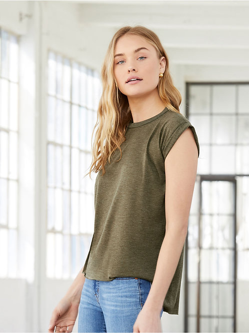 Bella Women's Flowy Muscle Tee with Rolled Cuff