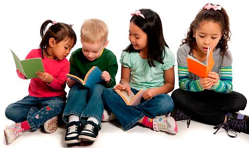 Pre-k children reading books together