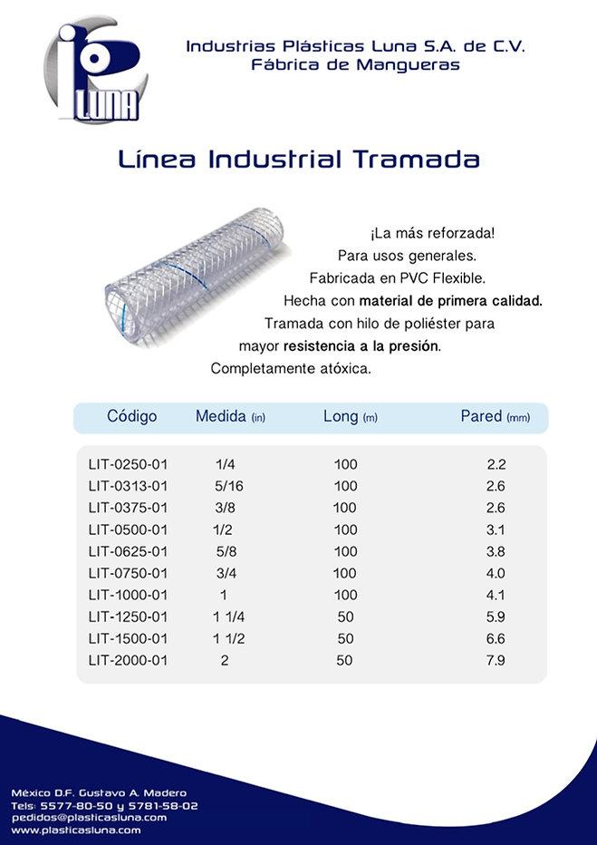 Especificaciones de la línea de mangueras Industrilal Tramada.