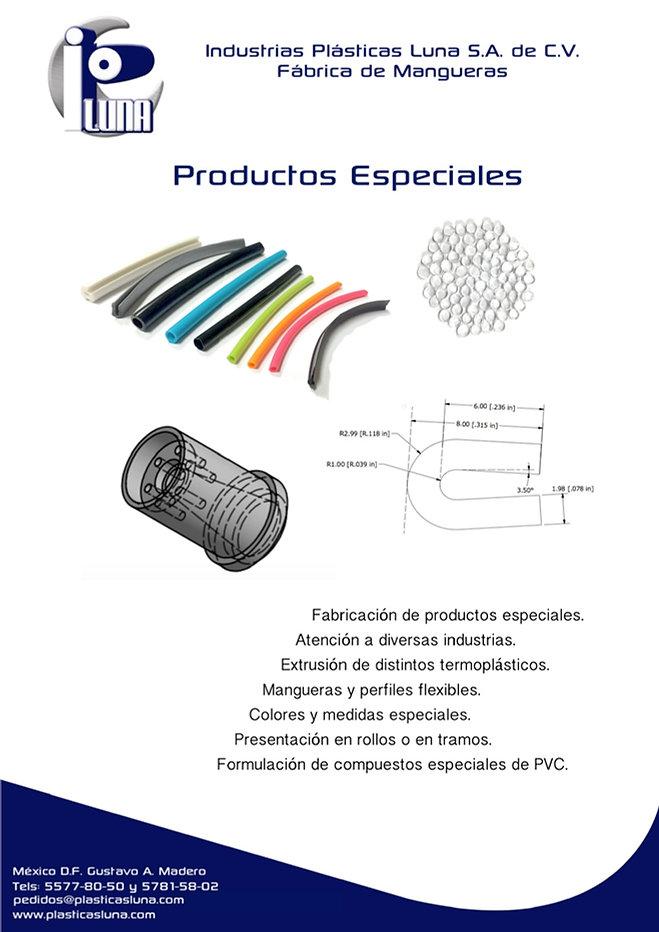 Estas son las especificaciones de produccción de productos especiales. Principalmente enfocado a comercio entre negocios o business to business B2B. Se pueden ver algunos productos especiales, una foto de los pellets de PVC que fabricamos y planos de un perfil y un dado.