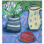 Spotted jug, snowdrops and pomegranate