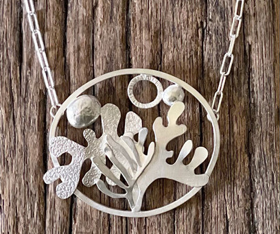 A Jeweller at Chalk; shapes in silver by Alison Crowe