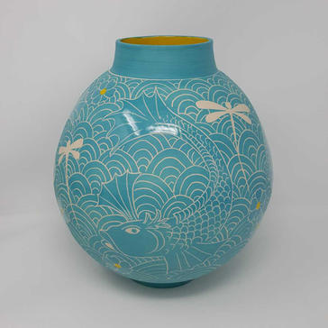 Turquoise Jar with Fish and Dragonflies