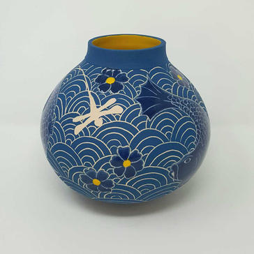 Teal and Yellow Dragonfly Moon Jar