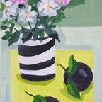Striped pot with Japanese anemones and plums