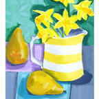 Striped jug with daffodils and pears