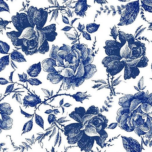 Blue Sketched Flowers Decoupage Paper by Belles And Whistles