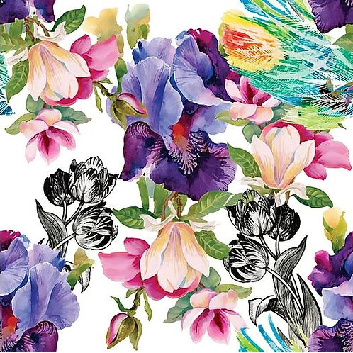 Colorful Floral With Black & White Decoupage Paper