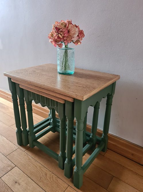 Solid oak nest of tables - SOLD