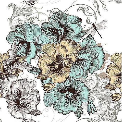Blue & Yellow Floral Decoupage Paper