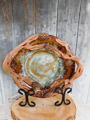 pinecone bowl with ceramic wood handles