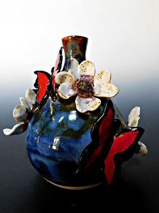 Butterfly and dogwood vase
