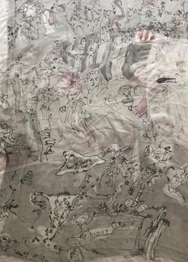 Monoprint on silk for dressing table