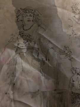 Monoprint on fabric, woman with flower o