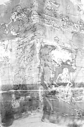monotype on silk panel 2020