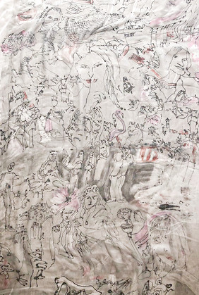 Monotype on silk panel 2020,