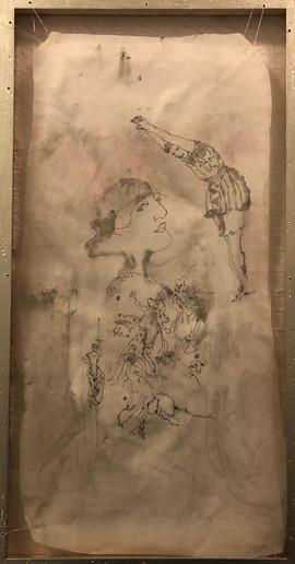 Women I know, 2020 monoprint on textile stretch on frame  38 x 22