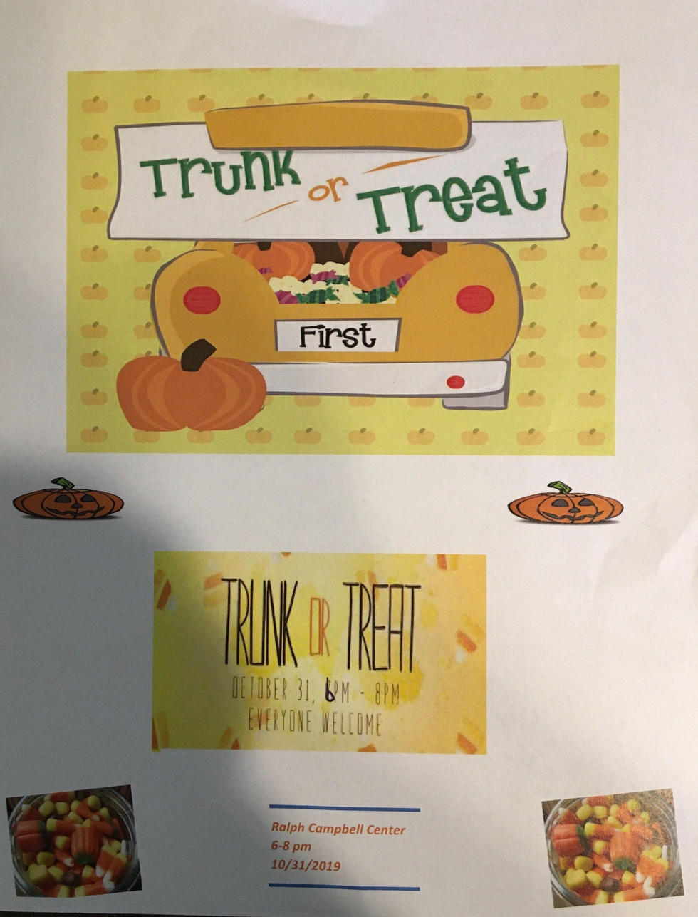 Trunk or Treat Event, October 31st from 6pm-8pm