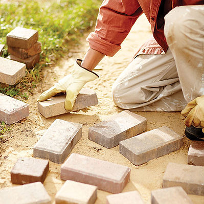 yard help stone sidewalk