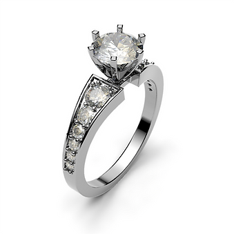 Tapered Diamond Shank Engagement Ring