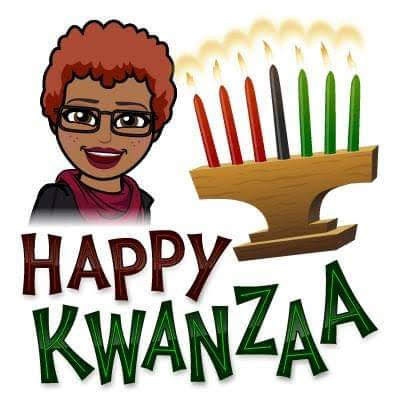 Bitmoji image featuring Miss April's happy face avatar, a Kinara with seven brightly candles, and the phrase Happy Kwanzaa in large red and green letters outlined in black.