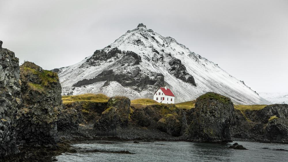 Glacier Snaefellsjokull vu depuis Hellnar et Arnastapi