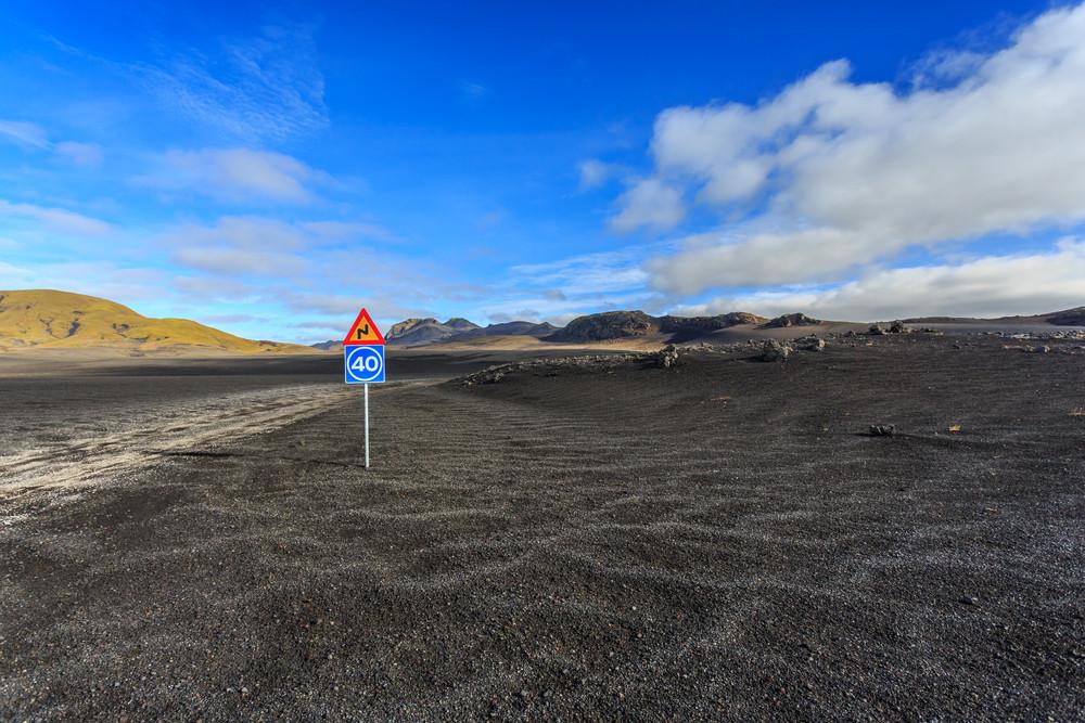 Limite de vitesse dans les hautes terres d'Islande