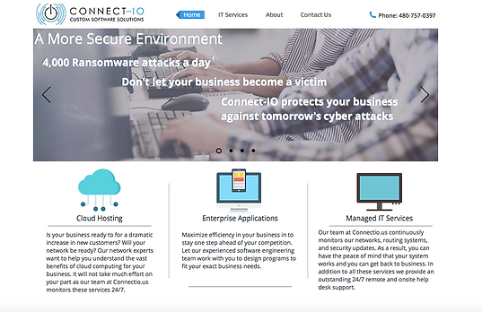 Homepage of Connect...IO website showing primarily feature-based marketing efforts