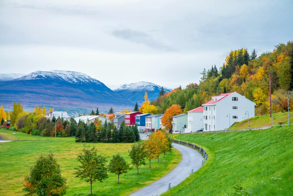 La vieille ville d'Akureyri en été
