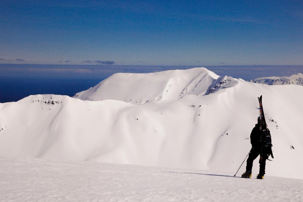 Ski dans la péninsule des trolls près d'Akureyri