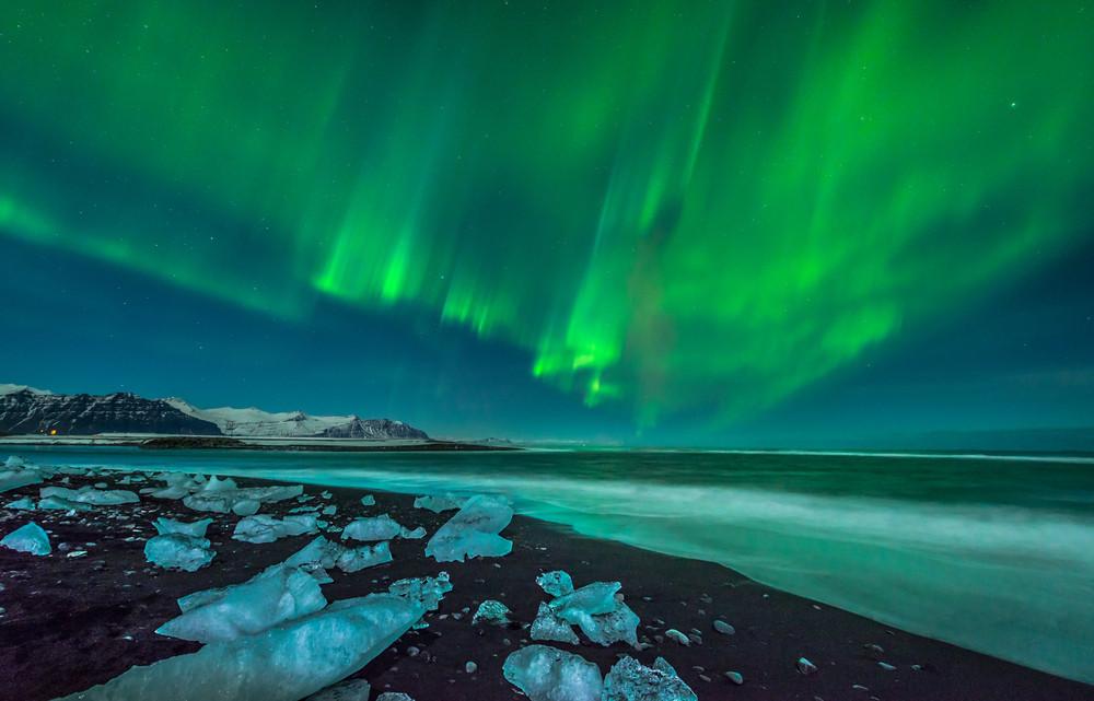 Aurore boréale en Islande en hiver