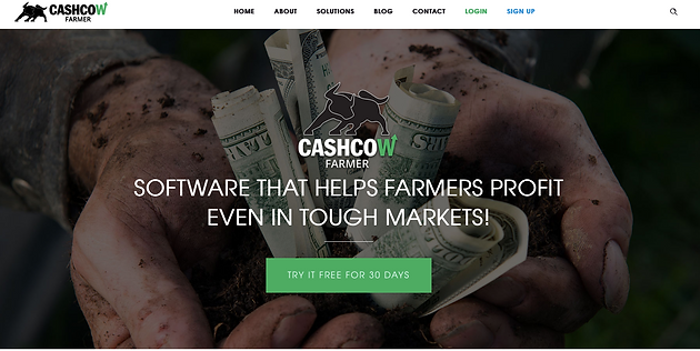 Homepage of Cash Cow Farmer website showing primarily emotional marketing efforts.