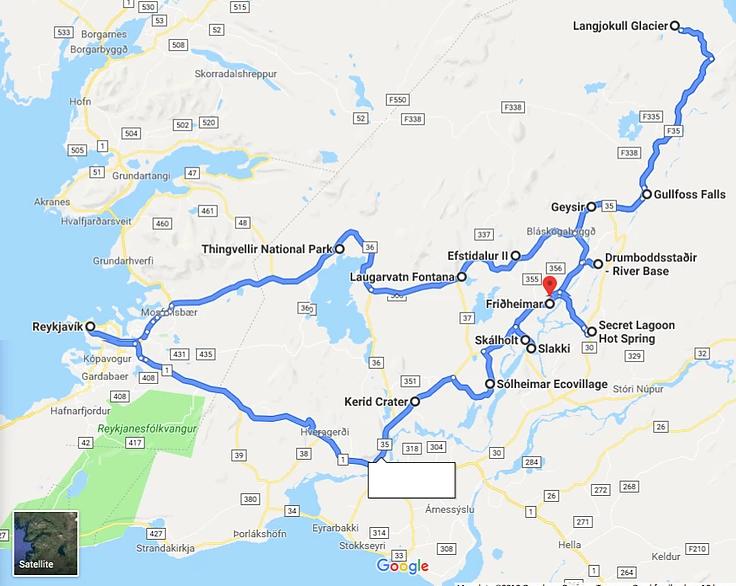Carte des arrêts le long du Cercle d'Or en Islande