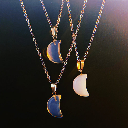 Opalite Mini Moon Necklace