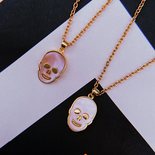 Pink / White Skull Necklace