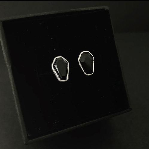 BLACK ONYX COFFIN - Stud Earrings