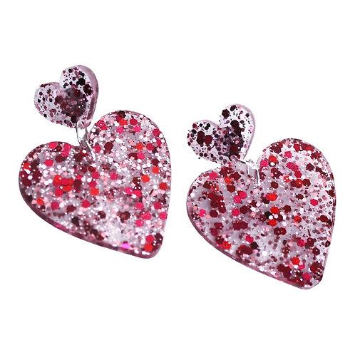 Double Stacked - Heart Stud Earrings