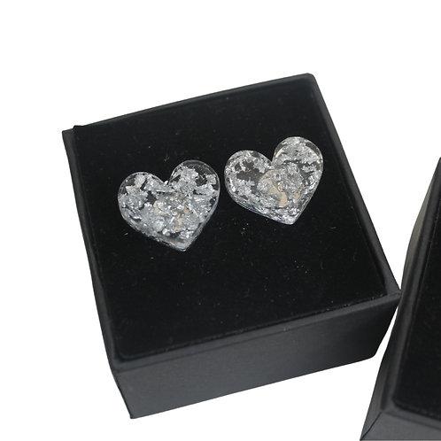 Silver Foil - Heart Stud Earrings