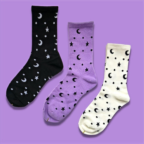 patterned socks, moon and star print, celestial