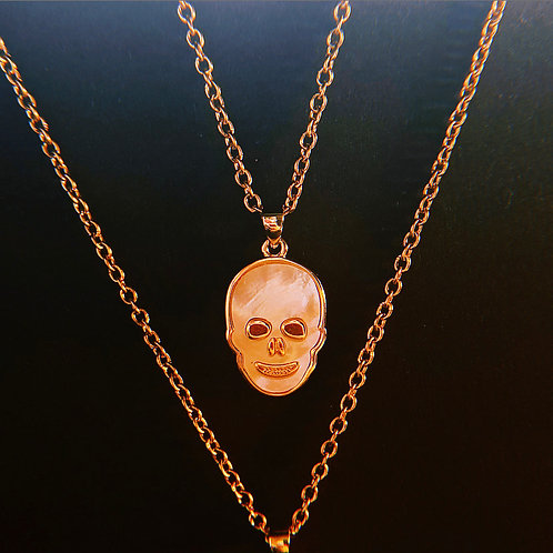 Iridescent Skull Necklace - White