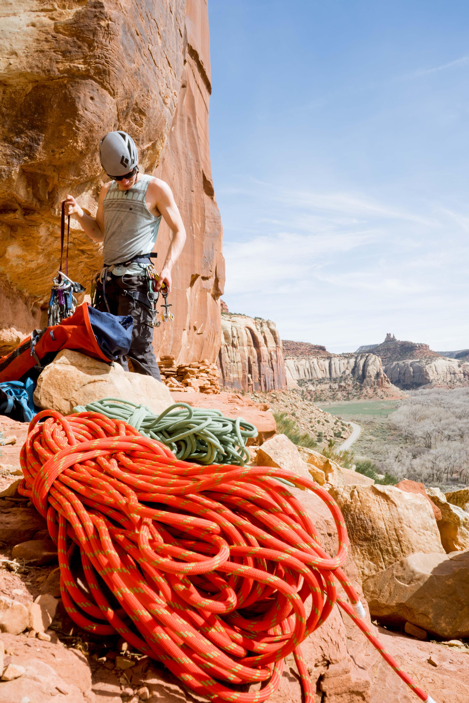 climber in indian creek utah