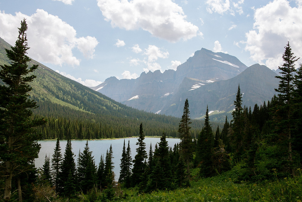 this view of lake josephine was behind us on our way into swiftcurrent