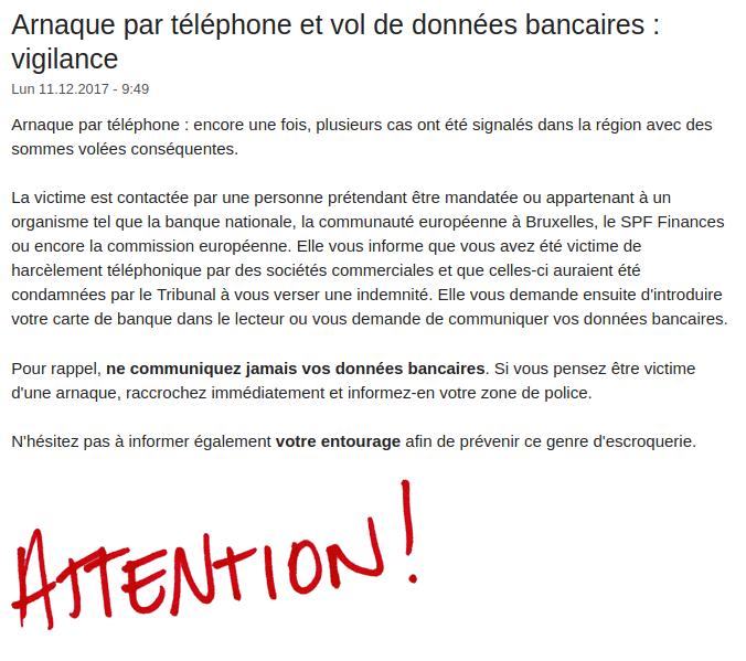 Zone de police de Gaume, alerte
