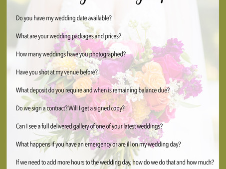 Top Ten Questions to Ask A Wedding Photographer