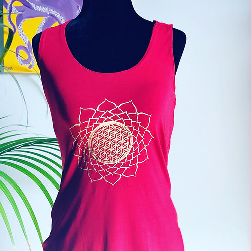 Red Multi Racerback with Mandala Large