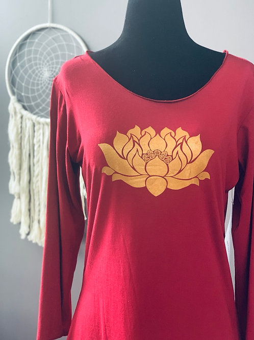 Red 3/4 Sleeve with Lotus Large