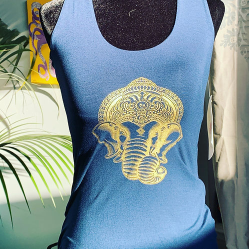 Navy Blue Multi-Racerback with Ganesha Small