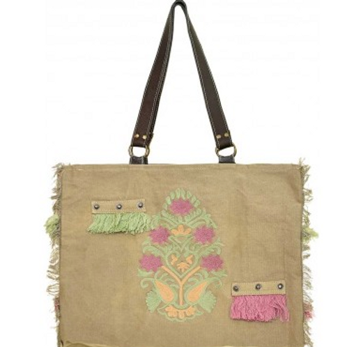 EMBROIDERED TENT MARKET TOTE