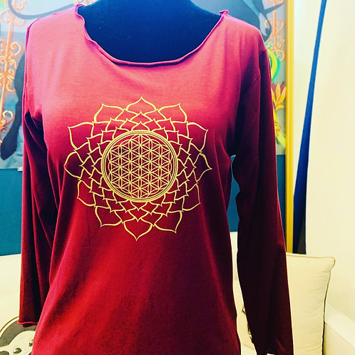 Red 3/4 Sleeve with Mandala Large