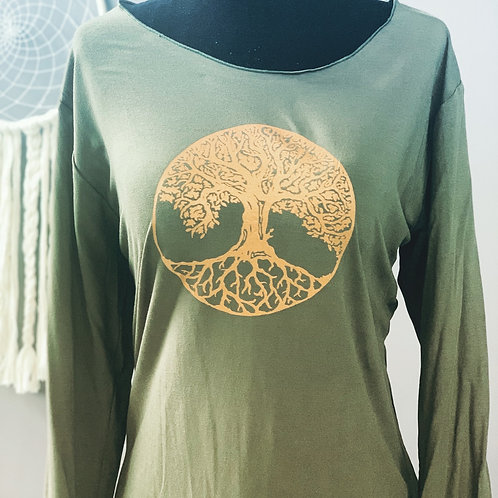 Forest Green 3/4 Sleeve with Tree of Life Small